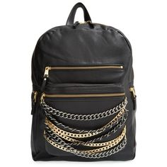 Ash 'Domino' Chain Leather Backpack ($285) ❤ liked on Polyvore featuring bags, backpacks, leather backpack, genuine leather backpack, leather knapsack, leather laptop backpack and laptop backpacks