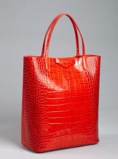 medium red crocodile-embossed leather tote