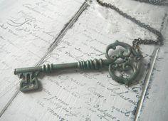 key necklace verdigris necklace bohemian jewelry by ShabbyRoad