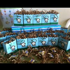 Jayden's brown, green and blue monkey baby shower favors