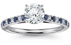 pave rings with saphire side diamonds | Diamond Engagement Ring with Diamond and Sapphire Sidestones ...