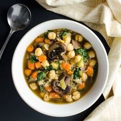 This tasty vegan gluten-free quick mushroom quinoa soup recipe is loaded with the top nutrient-dense foods we should try to eat every day. Lunch Recipes, Whole Food Recipes, Soup Recipes, Vegetarian Recipes, Cooking Recipes, Healthy Recipes, Healthy Foods, Cooking Ideas, Yummy Recipes