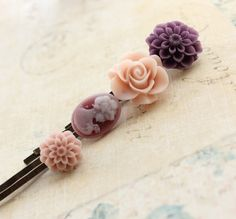 Flower Bobby Pins Floral Hair Clips Hair by apocketofposies