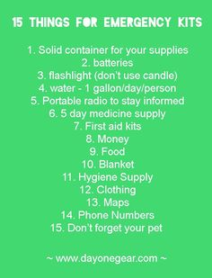 15 things for emergency kits. These things stress me out but I need to get some… Emergency Food Supply, Emergency Preparation, Emergency Supplies, Emergency Preparedness, Emergency Kits, Survival Skills, Survival Guide, Diy Camping, Truck Camping