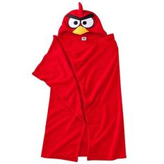 """Angry Birds Red Hooded Fleece Wrap Blanket by Angry Birds. $34.70. Soft fleece construction keeps him cozy and warm.. Not intended as sleepwear. Imported. One size fits most.. 40"""" X 52"""". Polyester. Machine Washable. This boys' Angry Birds blanket is sure to garner three stars with your little guy. Game character embroidery provides authentic appeal. In Red"""
