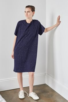 Building Block Dot Dress, Navy
