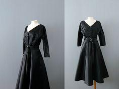 Vintage black dress. 1940s dress. Black satin evening gown