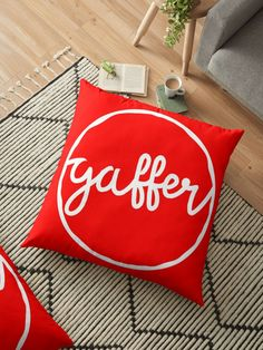 Gaffer is a often used in the UK, and means Boss. It's often used to desribe football (soccer) managers in the UK These pillows are available in a variety of sizes, from throw pillows for your bed and couch, to huge floor pillows.  Prices starting at $27.   Add some color and humor to your home with these fantastic cushions featuring slang words and dialect from the UK, Germany, Ireland, the US and more places being added all the time.  World wide shipping.