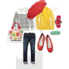 Fun Spring Outfit! Of course, I'll have to make sure to always carry the umbrella as it perfectly matches the shoes! :)