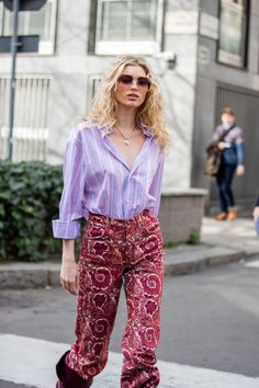 Florals aren't the only print coming out to play for spring. Stripes and paisleys are ready to party too. Here's a thought: Try wearing them all at once for maximum impact, as seen here on Elsa Hosk.
