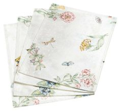 Lenox Butterfly Meadow Set of 4 Placemats by Lenox. $25.46. Machine wash in cold, tumble dry without heat. Made of 54 percent cotton, 46 percent polyester. Classic floral print on white ground with butterfly accents and subtle underlying leaf pattern. Press with a warm iron if needed. Set of four airy, summery placemats. Butterfly Meadow Set of 4 Placemats. Save 29% Off!