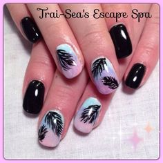 Black & Ombre with feathers by TraiSeasEscape from Nail Art Gallery