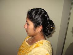2 dutch braids into a bun Indian Hairstyles, Braided Hairstyles, Bridal Bun, Nauvari Saree, Hair Reference, Long Hair Styles, Wedding Dresses, Dutch Braids, Buns