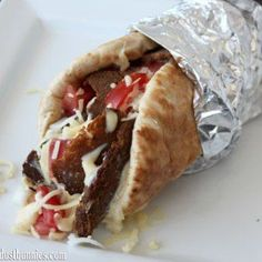"""How to make The Famous Atlantic Canadian """"Halifax Donair"""" - Dishes & Dust Bunnies Donair Meat Recipe, Donair Sauce, Canadian Dishes, Canadian Food, Canadian Recipes, Meat Recipes, Cooking Recipes, Healthy Recipes"""