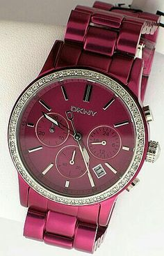 DKNY - Metallic Red Watch with Bling around Face