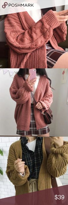 ✨✨NEW IN✨✨pattern sweater cardigan ✨✨ ✨✨NEW IN✨✨pattern sweater cardigan ✨✨Super comfy and pretty braided pattern on the sleeves with a chunky style. Great for everyday look!!  ♥️ Made with knit material. Various colors available including Blue,Mustard, and Pink. Ask me if you have any questions :)💖✨💖✨ Chris Cherie Sweaters Cardigans