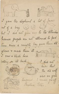 ¤ The Morgan Library & Museum Online Exhibitions - Beatrix Potter: The Picture Letters - Letter to Noel Moore, March page 4 Beatrix Potter, Peter Rabbit And Friends, The Ostrich, Ostriches, Picture Letters, Children's Book Illustration, Animal Illustrations, Mail Art, Oeuvre D'art