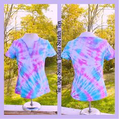 Pastel Tie Dye Embroidery Front Ladies Stretch 100 by tranquilityy