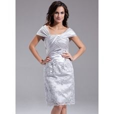 [US$ 168.99] Sheath Off-the-Shoulder Knee-Length Charmeuse Lace Mother of the Bride Dress With Ruffle Beading (008006389)