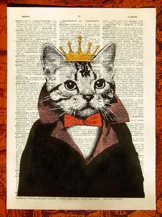 Cat King, hand painted book art print, by ArthurChow on Etsy