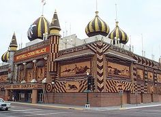 My grandmother saw the original one, when she was young. //The Corn Palace is a multi-purpose arena/facility located in Mitchell, South Dakota. The Revival building is decorated with Crop art; the murals and designs covering the building are made from corn and other grains