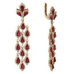Women's 14k Rose Gold Ruby and Diamond Dangle Earrings (6.20cttw)