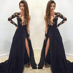 Fancy black mermaid split long sleeves prom party dress with appliques