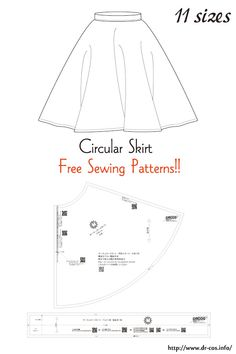 This is the pattern of a Circular Skirt. Japanese Sewing Patterns, Skirt Patterns Sewing, Sewing Patterns Free, Free Sewing, Barbie Clothes Patterns, Sewing Clothes, Clothing Patterns, Diy Clothes Videos, A4 Size