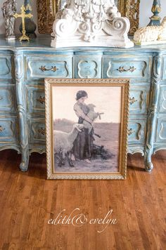 Vintage Shepherdess with Sheep Art Print Framed by edithandevelyn
