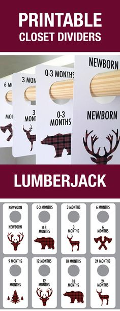 Printable Closet Dividers, Lumberjack Baby Room Theme, Lumberjack Nursery, Lumberjack Decor, Closet Organization, Baby Hanger Dividers, Baby Labels, Baby Shower Gift, Baby Boy Room, Adventure Theme
