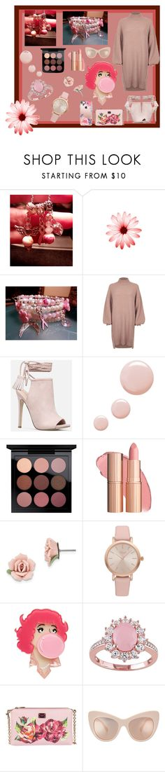 """Pink-Beaded-Breast Cancer Awareness-Angel Charm Beaded Bracelet"" by bamasbabes ❤ liked on Polyvore featuring River Island, JustFab, Topshop, 1928, Vivani, Erstwilder, Dolce&Gabbana, STELLA McCARTNEY and Casetify"