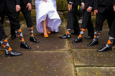 Orange shoes with groomsmen socks to match (part of the groomsmen gift)