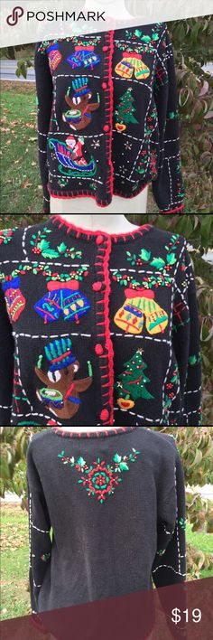 red gold ugly christmas cardigan small vintage lots of crazy ugly details beads embroidery appliques gently used a sweaters cardigans pinterest