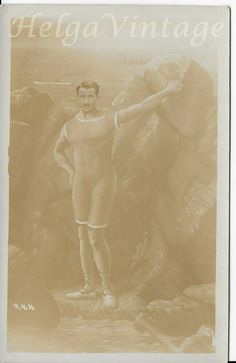 Sepia photo-postcard Abbazia Villa Elvira, sporty, muscled man in swimsuit 1914 Photo Postcards, Muscle Men, Vintage Photos, Swimsuit, Villa, Vintage Fashion, Sporty, Antique, Movie Posters