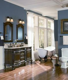 I want to use old furniture for the vanity and also for shelving for towels in the main bathroom...so cozy!