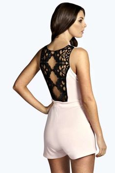 4883f9edea Cally Crochet Back Wrap Front Playsuit at boohoo.com Rompers Dressy