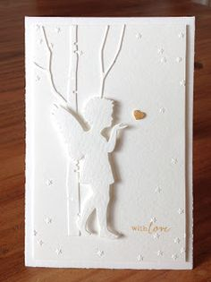 "Die schlichte Karte: Engelsgleich, ""Engel mit Stern"" und Folder ""Sternenregen"" Alexandra Renke, ""Tall Birch"" Memorybox, ""Message me"" Clearly Besotted"