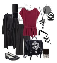 Back to school + Gothess of style by venusmantrap on Polyvore featuring H&M, Repetto, Noir Cosmetics, Prescriptives, NARS Cosmetics and Butter London