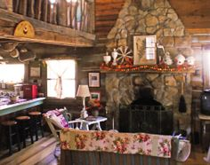 The Brown County stone fireplace