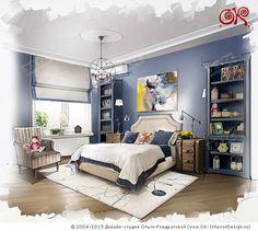 Эскиз интерьера синей детской спальни  http://www.ok-interiordesign.ru/ph_dizain-detskoy-komnaty.php