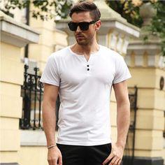 New Arrival T shirt Men Tee Shirt Homme 2017 Summer Fashion V Neck with Button Short Sleeve Henley Shirt European Style Tshirt