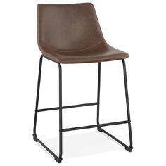 Chaise vintage et industrielle JOE pieds métal noir marron