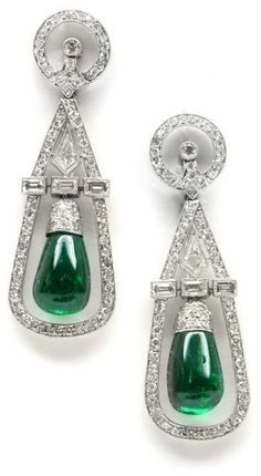 Art Deco emerald and diamond earrings by Cartier, circa Each earring is hung with a polished emerald within an open diamond-set frame. The frames are each divided by a line of baguette diamonds and with fancy kite shaped diamond, from diamond. Emerald Earrings, Emerald Jewelry, Diamond Jewelry, Emerald Diamond, Platinum Earrings, Emerald City, Crystal Jewelry, Sapphire, Drop Earrings