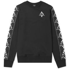 Buy the Marcelo Burlon x Kappa Tape Crew Sweat in Black & White from leading mens fashion retailer END. - only Fast shipping on all latest Marcelo Burlon products Kappa, Adidas Jacket, Milan, Sportswear, Mens Fashion, Black And White, Sweatshirts, Sleeves, Sweaters