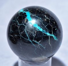Black Tourmaline with Chrysocolla 2.5 inch .82 lb Natural Crystal Sphere - Peru