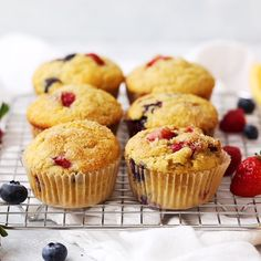 (AD) Gluten Free Orange Triple Berry Muffins - Light, fluffy mixed berry muffins with a kiss of citrus. They're perfectly golden and naturally sweetened--you'll love them as much as I do! (Gluten free, dairy free) // Get all your ingredients at @sproutsfm and you can make them in no time! // Gluten Free Orange Berry Muffins // Gluten Free Mixed Berry Muffins Recipe // Gluten Free Dairy Free Muffins Recipe // Spring Brunch // Berry Muffins #muffins #glutenfree #lovesprouts
