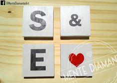 Carteles Vintage de madera INICIALES *Medidas: 10x10x10cm aprox. *Pintados y barnizados con LACA *Color de fondo a elección. Las más pedidas: HOME / LOVE / LIVE / MUSIC / HOPE / AMOR & PAZ / VIVE FELIZ / WELCOME * Nombres * Palabras personalizadas. Ideales para: *Deco hogar *Palabras positivas *Nombres de parejas *Iniciales *Regalo romantico *Souvenirs *Centros de mesa. Mente Diamante. #Amor #Bodas #Iniciales #Novios #Carteles #Letras #Vintage #Madera #Corazon