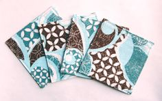 Teal & Brown Fabric Coasters - Modern Sparkly Glittery Pattern Cotton Mug Rugs