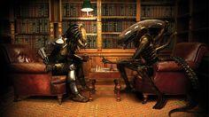 Alien Aliens Aliens Vs Predator Game Books Bookshelf Chess Library Predator Predators Wallpaper