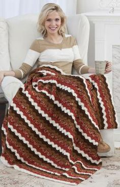 Best Free Crochet » Free Lodge Cabin Throw Pattern from RedHeart.com #290